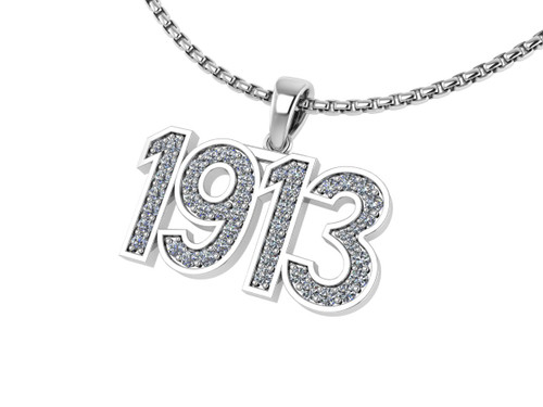 Delta Sigma Theta Sterling Silver Pendant 1913 with Stones- DSTP015PW