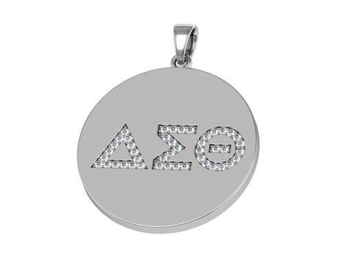 Delta Sigma Theta Sterling Silver Circle Pendant with Stones - DSTP003SW