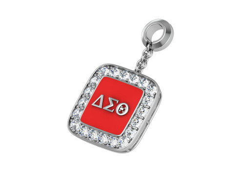 Delta Sigma Theta Sterling Silver Cushion Shape Pendant with Stones - DSTP020SW