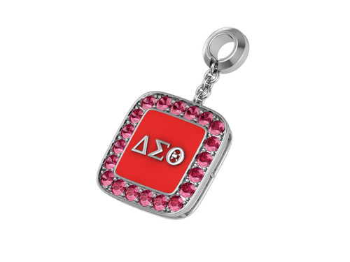 Delta Sigma Theta Sterling Silver Cushion Shape Pendant with Stones - DSTP021SR