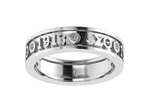 Delta Sigma Theta Sterling Silver Ring with Stones - DSTR008SW