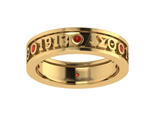 Delta Sigma Theta Sterling Silver Ring with Stones - DSTR009YR