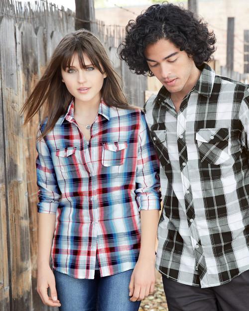 Burnside Women's Long Sleeve Plaid Shirt 5222