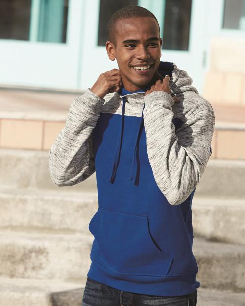 J. America M???lange Fleece Colorblocked Hooded Sweatshirt 8676