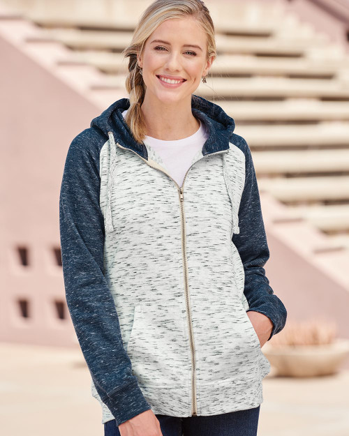 J. America Women's M???lange Fleece Colorblocked Full-Zip Sweatshirt 8679