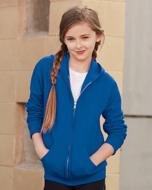 JERZEES NuBlend Youth Full-Zip Hooded Sweatshirt 993BR