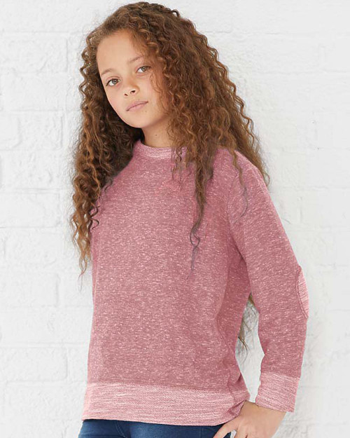 Rabbit Skins Youth Harborside Melange French Terry Long Sleeve with Elbow Patches 2279