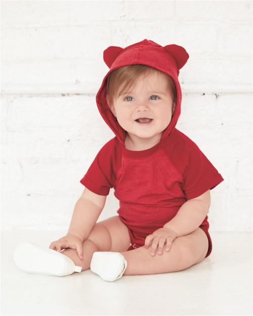 Rabbit Skins Fine Jersey Infant Short Sleeve Raglan Bodysuit with Hood & Ears 4417