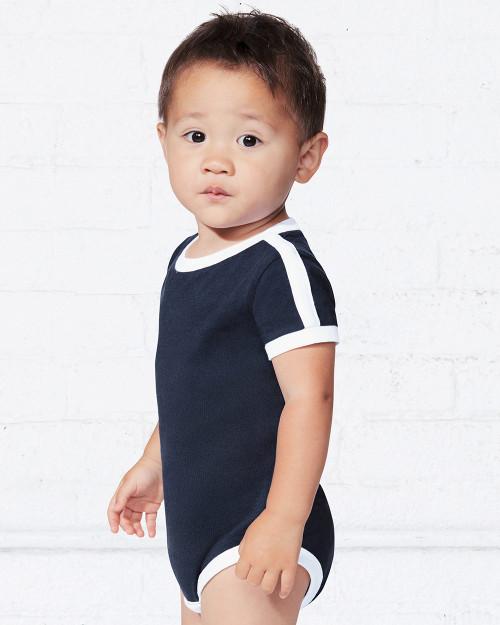 Rabbit Skins Infant Retro Ringer Fine Jersey Bodysuit 4432