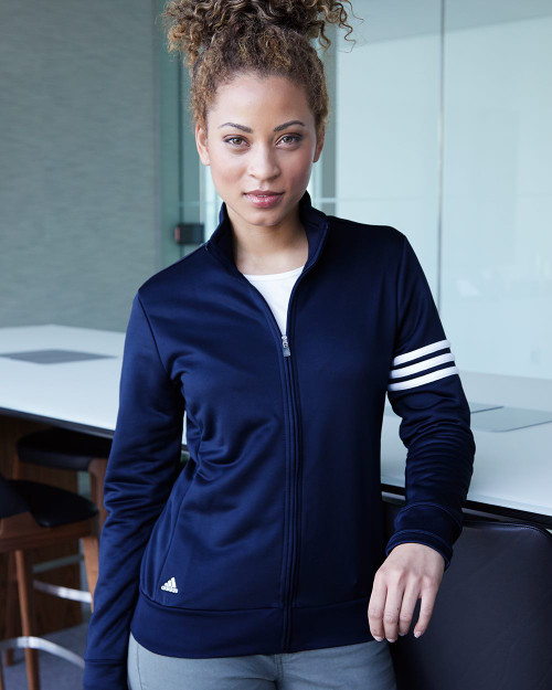 Adidas Women's ClimaLite 3-Stripes French Terry Full-Zip Jacket A191