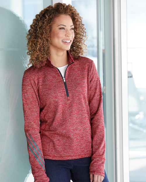 Adidas Women's Brushed Terry Heathered Quarter-Zip Pullover A285
