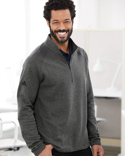 Adidas Heathered Quarter Zip Pullover with Colorblocked Shoulders A463