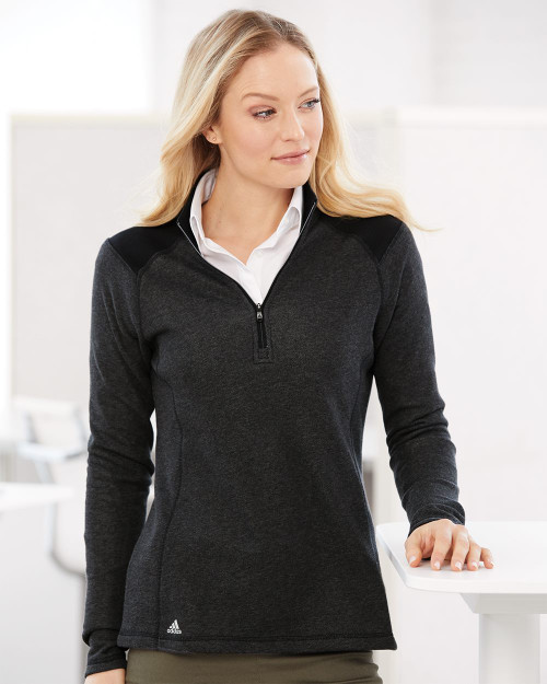 Adidas Women's Heathered Quarter Zip Pullover with Colorblocked Shoulders A464