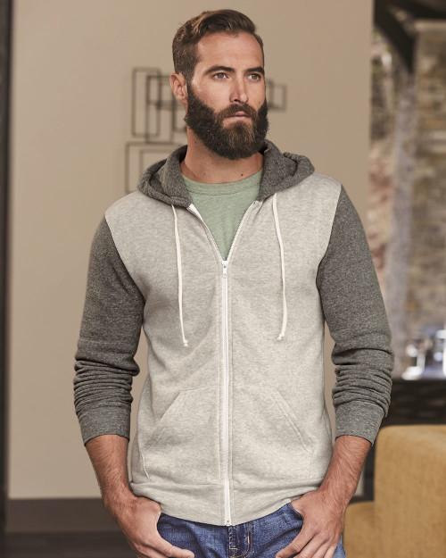 Alternative Rocky Unisex Colorblocked Eco-Fleece Hooded Full-Zip 32023