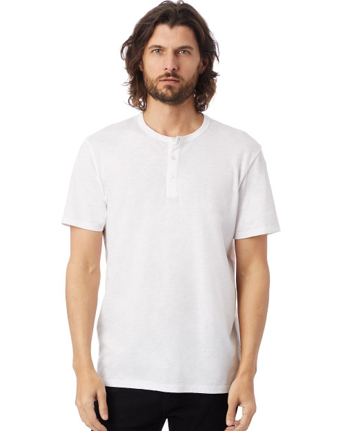Alternative Weathered Slub Short Sleeve Henley Shirt 6086