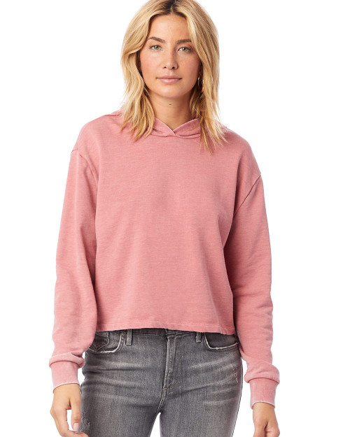 Alternative Women's Burnout French Terry Cropped Pullover Hoodie 8642