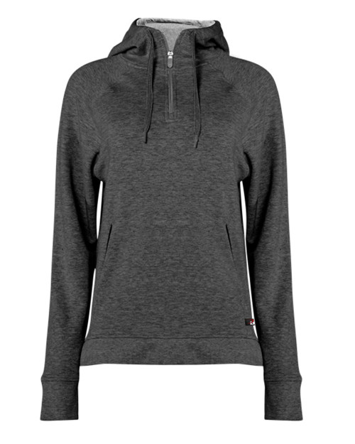 Badger Women's Fitflex French Terry Hooded Quarter-Zip 1051