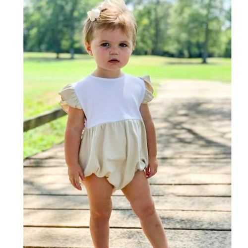 TAN AND WHITE FLUTTER SLEEVE BUBBLE