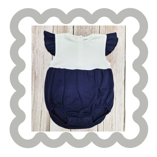 NAVY AND WHITE FLUTTER SLEEVE BUBBLE