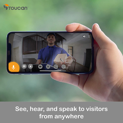 TOUCAN Video Doorbell Camera 1080p HD with Chime, Motion Detector, Wifi, Video Night Vision, 180° Wide Angle, 2-Way Audio, Weatherproof, Works with Alexa