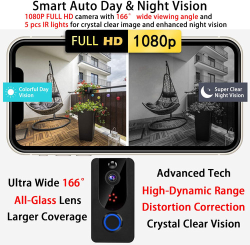 Video Doorbell Wireless 1080P with Chime, (2021 Upgraded) Doorbell with Camera, PIR Motion Detection, IP65 Waterproof, 2-Way Audio, Wide Angle, Lifetime Free Cloud Storage (No Need For SD Card)
