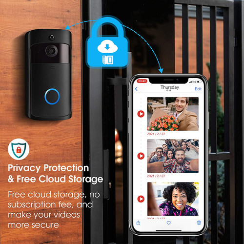 Video Doorbell Camera with Chime, Wireless Smart with Free Cloud Storage, PIR Motion Detection, 2-Way Audio, 166°Wide Angle, Night Vision, IP65 Weatherproof for Home Security