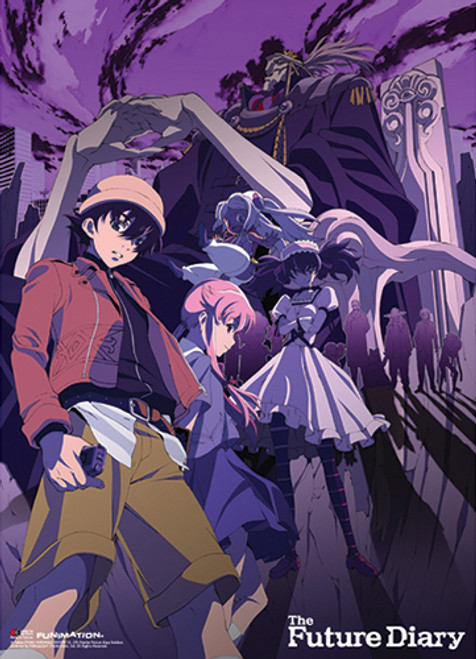 Future Diary - Group Purple Background Fabric Poster 7797218BAS