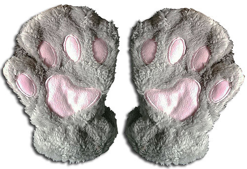 Great Eastern - Gray Paw Gingerless Plush Gloves 3002718BAS