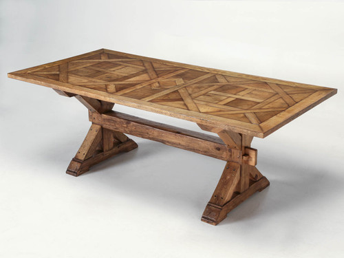 French Style Parquet Trestle Dining Table Main
