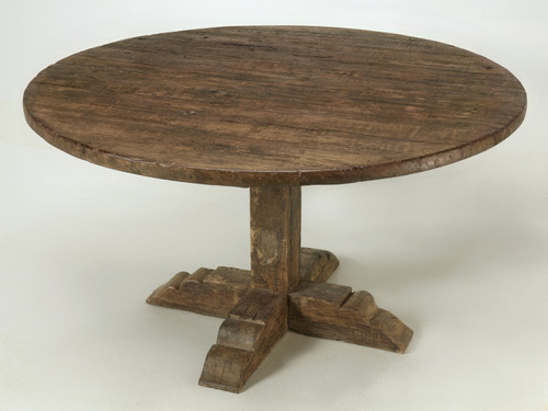 Italian Round Dining Table Handcrafted by Old Plank Main