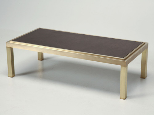 French Brass and Mirror Coffee Table, c.1960s Angled