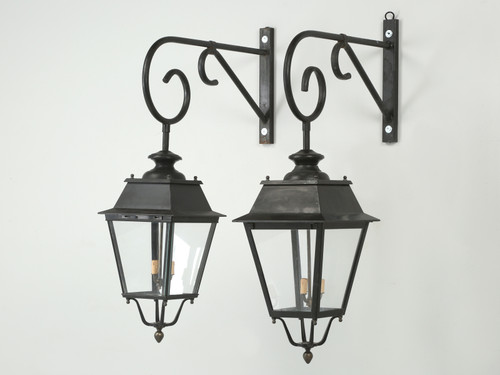Pair of Vintage French Lanterns with Wavy Glass