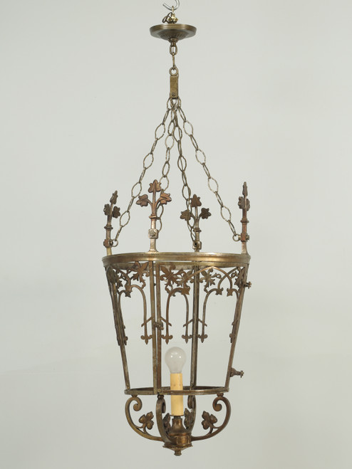 Antique French Solid Bronze Lantern Front
