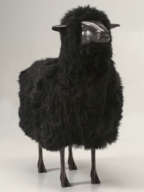 Old Plank Black Sheep in Bronze and Real Fur Front