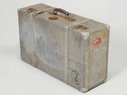 French Metal Trunk Suitcase Angled