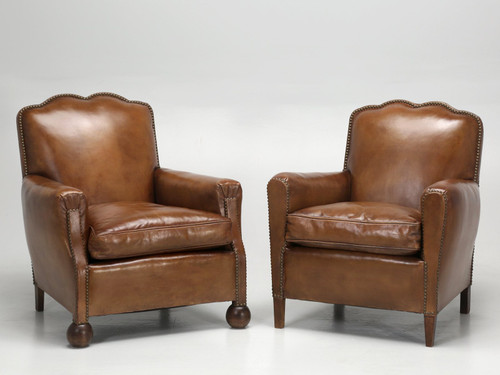 Restored French Art Deco Leather Club Chairs