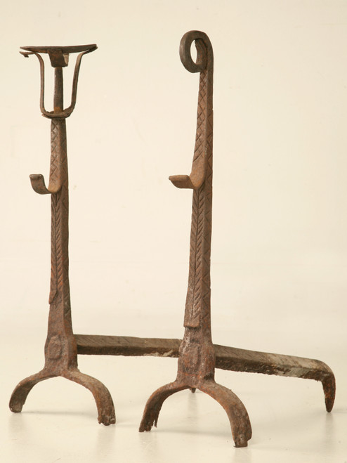 Pair Rustic Antique French Andirons
