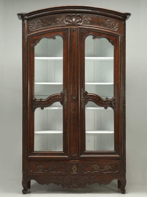 Antique French Walnut Armoire or China Cabinet Front