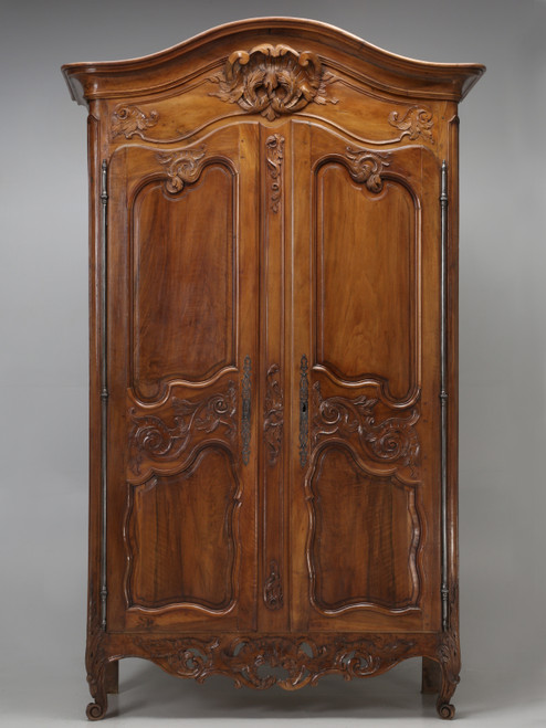 Antique French Louis XV Walnut Armoire c1700's Front
