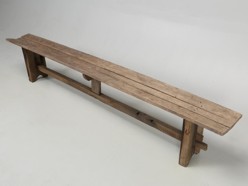 Antique French Farm House Table Bench Angled