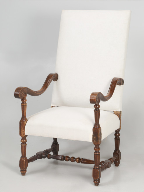 Antique French Louis XIII Style Armchair Chair Angle