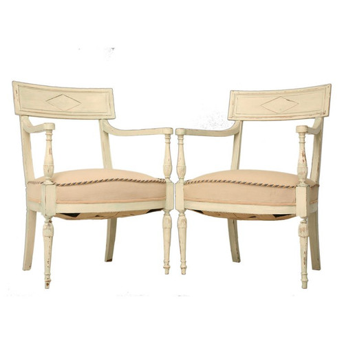 Pair of Antique French Directoire Arm Chairs Set Front