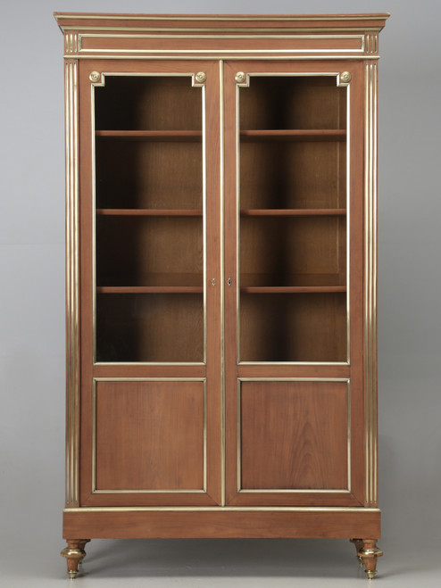 Antique French Louis XVI Mahogany Bookcase Front