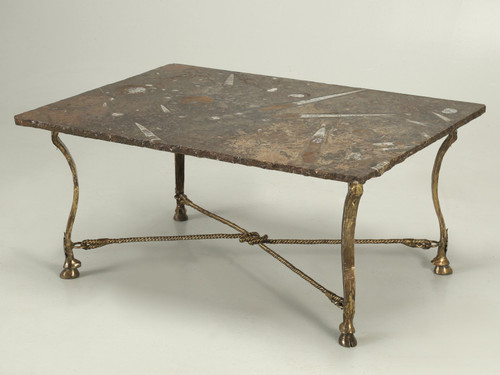Vintage French Coffee Table Fossilized Top Angled