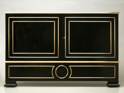 Ebonized Directoire Style Buffet with Bronze Trim Front