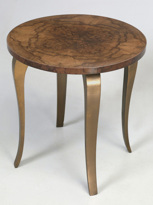 French 1930-40 Burl Walnut Bronze End Table
