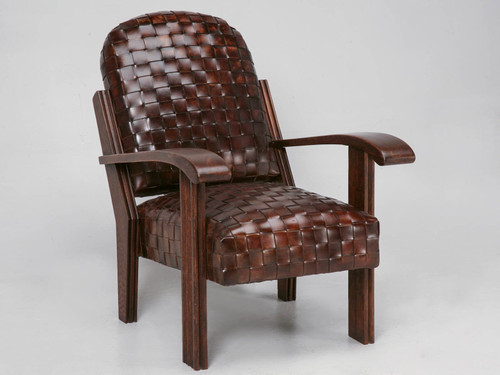 French Club Chair in Hand Woven Leather