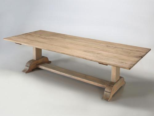 Italian Style Reclaimed Wood Trestle Dining Table Angled Left