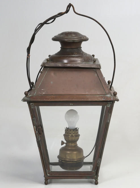 Antique French Hanging Copper Lantern Front