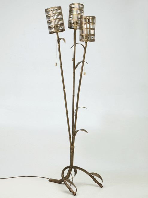 Vintage Italian Gilded Metal Bamboo Floor Lamp Front